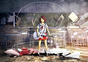 Tapety na pulpit Uczennica Gitara Krzesła Uniform loundraw, original Anime Dziewczyny