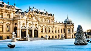 Bureaubladachtergronden Oostenrijk Burcht Winter Sneeuw Wien Belvedere een stad