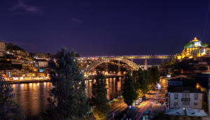 Tapety na pulpit Portugalia Rzeki Mosty Porto Noc Miasta