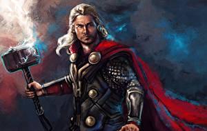 Image Thor Chris Hemsworth Men Heroes comics Cloak Lightning bolts War hammer Fantasy