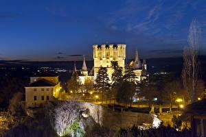 Image Spain Castle Night time Street lights Alcazar Segovia Cities