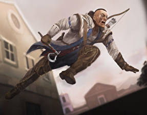 Wallpapers Assassin's Creed Assassin's Creed 3 Archers Warriors Man Jump Games
