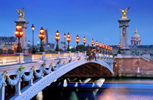Bakgrunnsbilder Frankrike En bro Paris Gatebelysning en by
