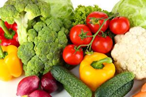 Papel de Parede Desktop Hortaliça Tomates Pepino Pimentão Repolho Brócolos comida