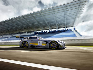 Pictures Mercedes-Benz Tuning Silver color Side 2015 GT3 AMG Cars