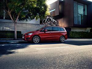 Wallpaper BMW Burgundy Metallic Asphalt 2015 220i Gran Tourer Cars