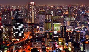 壁纸、、日本、住宅、メガロポリス、夜、Osaka、都市