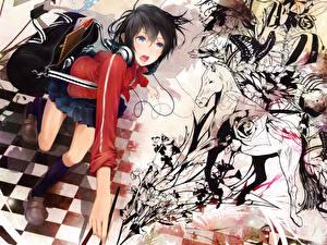 Tapety na pulpit Słuchawki Uczennice niou kaoru, original Anime Dziewczyny