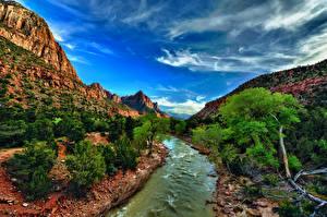 Hintergrundbilder Landschaftsfotografie Vereinigte Staaten Park Gebirge Flusse Himmel Zion-Nationalpark Bäume HDR Utah Natur