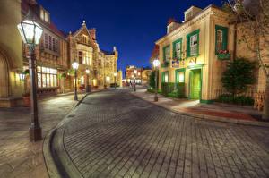 Bilder Vereinigte Staaten Disneyland Park Gebäude Kalifornien Anaheim HDR Design Nacht Straße Straßenlaterne Städte