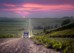 Image Lorry Roads Scenery Sunrises and sunsets Cars