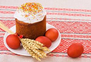 Hintergrundbilder Feiertage Ostern Backware Kulitsch Ei Ähre Teller Lebensmittel