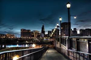 Hintergrundbilder USA Haus Brücken HDR Straßenlaterne Hartford Städte
