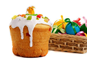 Fotos Feiertage Ostern Backware Kulitsch Zuckerguss Ei Weidenkorb
