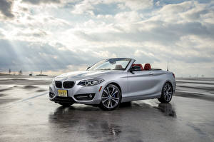 Pictures BMW Silver color Convertible Clouds 2015 228i  F23 convertible automobile