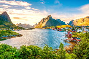 Pictures Norway Houses Landscape photography Mountains Lake Sky Lofoten Nature Cities