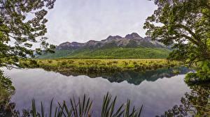 Photo Scenery New Zealand Lake Mountains Mirror Lakes Nature