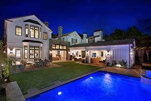 Image USA Houses Villa Swimming bath Lawn Night Newport Beach Cities