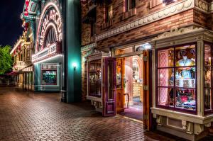 Hintergrundbilder Vereinigte Staaten Disneyland Park Kalifornien Anaheim Stadtstraße Nacht HDR Städte