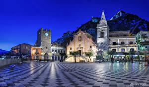 Sfondi desktop Italia La casa Sicilia Via della città Notte Taormina