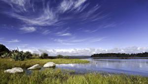 Images New Zealand Lake Sky Stones Landscape photography Lake Mahinapua Nature