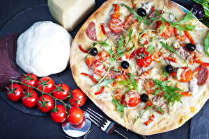 Fotos Fast food Pizza Tomate das Essen