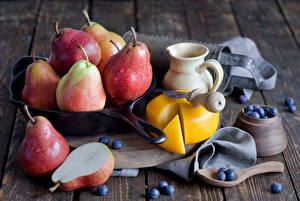 Photo Fruit Pears Blueberries Cheese Food