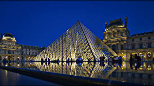 Bakgrunnsbilder Frankrike Paris Palass Natt Gatebelysning Louvre en by
