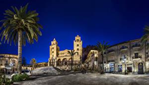 Sfondi desktop Italia Edificio Sicilia Via della città Notte Palme Cefalu