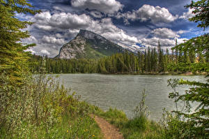 Pictures Canada Park Lake Forests Banff Clouds HDR Nature