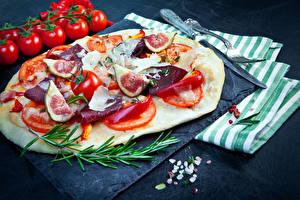Hintergrundbilder Fast food Pizza Schinken Echte Feige Tomaten das Essen