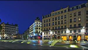 Bakgrunnsbilder Frankrike Hus Gate Natt Gatebelysning Lyon Byer