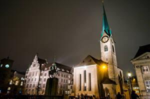 Hintergrundbilder Schweiz Gebäude Denkmal Zürich Nacht Straßenlaterne