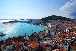 Image Croatia Houses Sea Coast City of Split Cove Cities