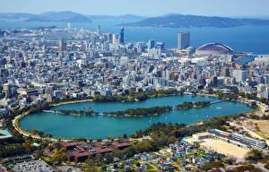 壁纸、、日本、住宅、湖、上から、メガロポリス、Fukuoka、都市