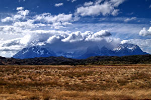 Wallpapers Chile Mountains Meadow Clouds Patagonia Nature