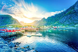 Pictures Norway Mountains Houses Sunrise and sunset Lake Lofoten Nature Cities