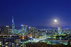 壁纸、、日本、超高層建築物、道、メガロポリス、夜、月、Fukuoka、都市