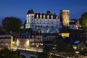Bakgrunnsbilder Frankrike Borg Natt Gatebelysning Chateau Pau en by