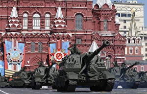 Pictures Holidays Tanks Russia Moscow Victory Day 9 May Military parade 2015