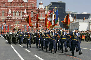 Image Russia Moscow Holidays Soldiers Victory Day 9 May Military parade Flag 2015