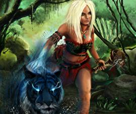 Image Sorcery Tigers Mage Staff Blonde girl Fantasy Girls