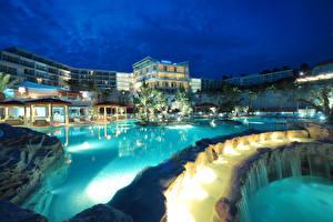 Wallpapers Croatia Resorts Waterfalls Houses Swimming bath Night island Hvar Cities