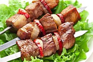 Fotos Fleischwaren Schaschlik Gemüse Nahaufnahme Lebensmittel