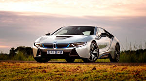 Wallpapers BMW Sky Grass Front i8 auto