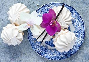 Fotos Süßigkeiten Orchideen Zefir Teller Lebensmittel
