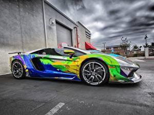 Bilder Lamborghini Seitlich Asphalt Luxus HDR Roadster Aventador LP 700-4 Roadster