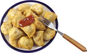 Bilder Die zweite Gerichten Nahaufnahme Wareniki Teller Essgabel Lebensmittel