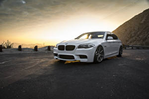 Wallpapers BMW Sunrise and sunset White F10 Cars