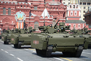 Pictures Military vehicle Moscow Victory Day 9 May Military parade Armored personnel carrier, Kurganets-25
